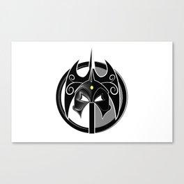 The Darkslayer, black & white, logo only, white on white Canvas Print