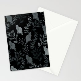 Watercolor Floral and Cat III Stationery Cards