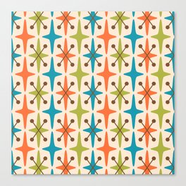 Mid Century Modern Abstract Star Pattern 441 Orange Brown Turquoise Chartreuse Canvas Print