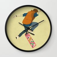 marty mcfly Wall Clocks featuring McFly by Danny Haas