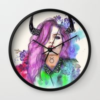 taurus Wall Clocks featuring Taurus by Sara Eshak