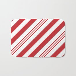 Red Candy Cane Stripes Bath Mat