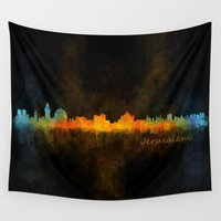 islam Wall Tapestries featuring Jerusalem City Skyline Hq v4 by HQPhoto