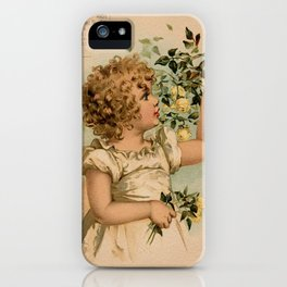 Little girl picking yellow roses Maud Humphrey iPhone Case