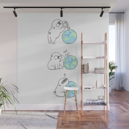 Mochi the pug celebrating Earth day Wall Mural