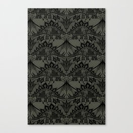 Stegosaurus Lace - Black / Grey Canvas Print