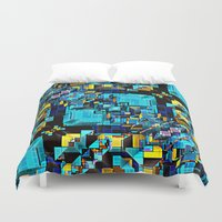 technology Duvet Covers featuring Blue Technology Abstract by Phil Perkins