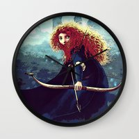 merida Wall Clocks featuring Brave - Merida by Juniper Vinetree
