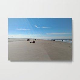 low tide sand beach sunny summer day at ouddorp zeeland netherlands europe Metal Print