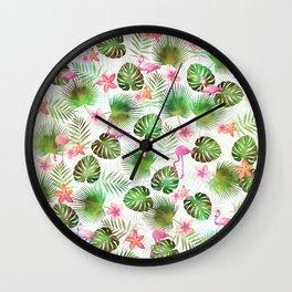 Stylish foliage and flamingo birds tropical motif design Wall Clock