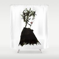 gemma Shower Curtains featuring 'Gemma1' Armani fashion Illustration by Cinnamoncafexx