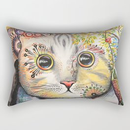 Smokey ... abstract cat art animal pet painting Rectangular Pillow