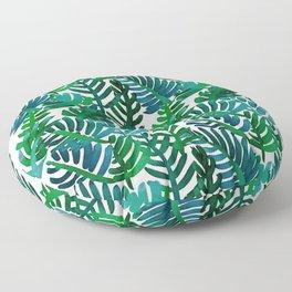 Round Palm Blue Green Floor Pillow