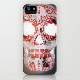 Red and White Sugar Skull iPhone Case