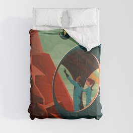 THE VOLCANO OF MARS - Olympus Mons | Space | X | Retro | Vintage | Futurism | Sci-Fi Comforters