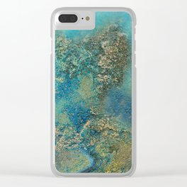 Blue And Gold Modern Abstract Art Painting Clear iPhone Case