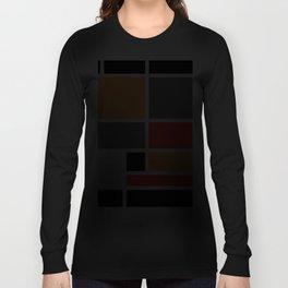Mondrianista orange red black and gray Long Sleeve T-shirt