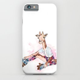 Roller Skating Giraffe Watercolor iPhone Case