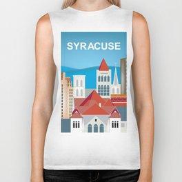 Syracuse, New York - Skyline Illustration by Loose Petals Biker Tank