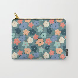 Peach and Aqua Flower Grid Carry-All Pouch