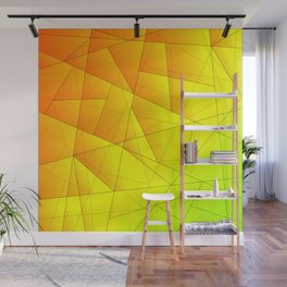Bright summer pattern of yellow and green triangles and irregularly shaped lines. Wall Mural