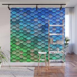 Aqua Teal & Green Shiny Mermaid Glitter Scales Wall Mural