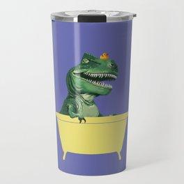 Playful T-Rex in Bathtub in Purple Travel Mug