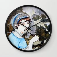jane austen Wall Clocks featuring Jane Austen by Makissima