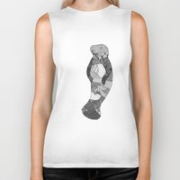 manatee Biker Tanks featuring Manatee by K J Guindon