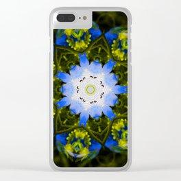 Kaleidoscopic Mandala Baby Blue Eyes Flower Clear iPhone Case