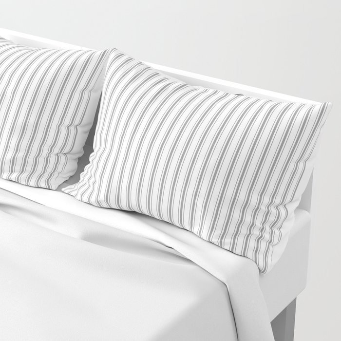 Mattress Ticking Narrow Striped Pattern in Charcoal Grey and White Pillow Sham