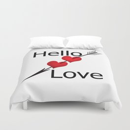 Hello love! White background . Duvet Cover
