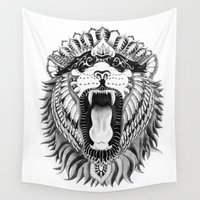 lions Wall Tapestries featuring Lions + Patterns by Laura Finnegan