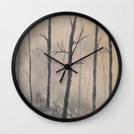 Misty Forest - Birch trees Wall Clock