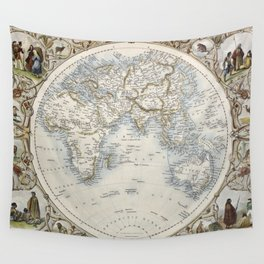 Eastern Hemisphere of the World 1851 Wall Tapestry