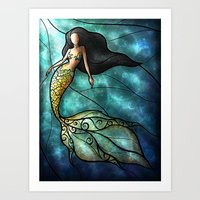mandie manzano Art Prints featuring The Mermaid by Mandie Manzano