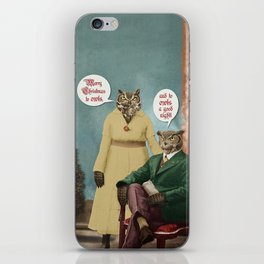 Merry Christmas to Owls, and to Owls a Good Night!! iPhone Skin