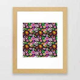 60's Lovers Floral in Black Framed Art Print