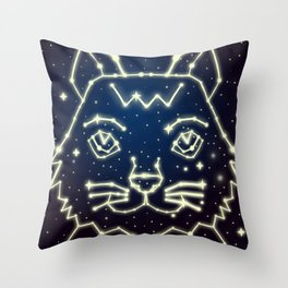Cat and Stars Throw Pillow