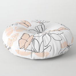 Butterflies Mishmash in Peach and Hunter Green Floor Pillow