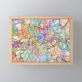 London England City Street Map Framed Mini Art Print