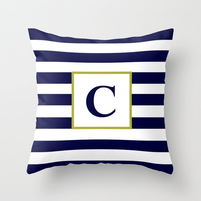 Monogram Letter C In Navy Blue And White Throw Pillow