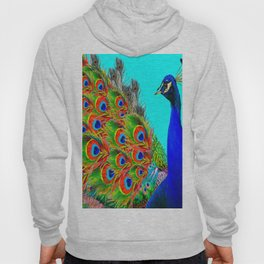 BLUE PEACOCK TURQUOISE ART ABSTRACT Hoody