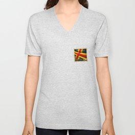 Grunge sticker of Aland Islands flag Unisex V-Neck