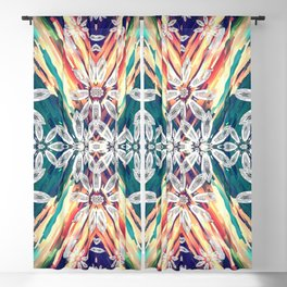 Abstract Retro Flower Design Blackout Curtain