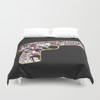 gun Duvet Covers featuring Love gun by Andrea Moresco