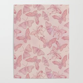 Butterfly Pattern soft pink pastel Poster