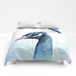 Peacock Watercolor Exotic Bird Animals Comforters