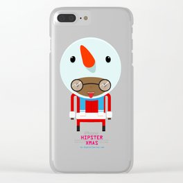 Funky Cute Snowman Clear iPhone Case