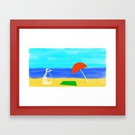 Metaphysical Penguin Beach Day Framed Art Print